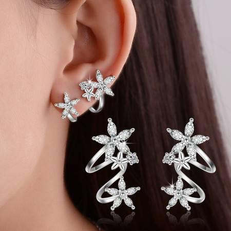 韩国甜美淑女花朵弧形耳夹锆石气质女简约耳环B133