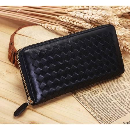 新款男士钱包长款手工编织男士韩版拉链手拿包薄钱包女大钞夹TSH309