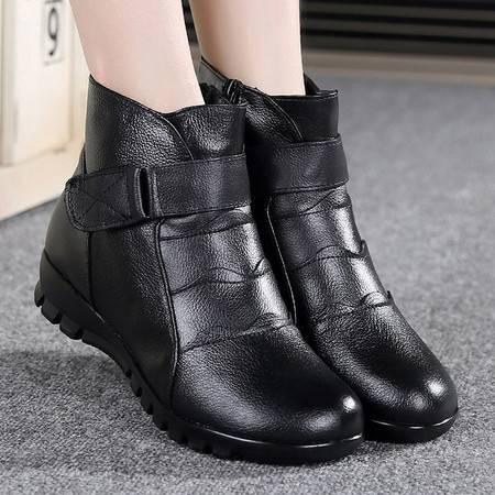 冬季妈妈棉鞋平底防滑真皮棉皮靴软底舒适圆头中老年女短靴ouf305