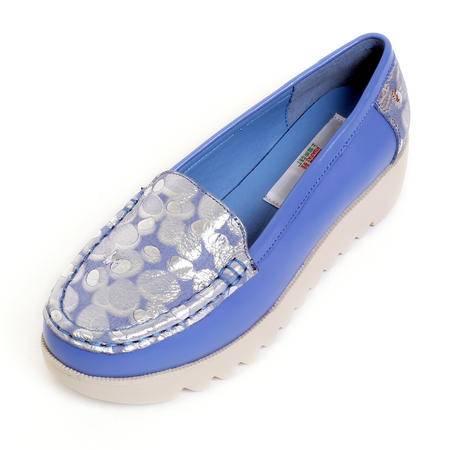 上海花牌专柜正品休闲平底松糕跟单鞋 舒适圆头真皮牛皮豆豆鞋百搭单鞋DS09-32