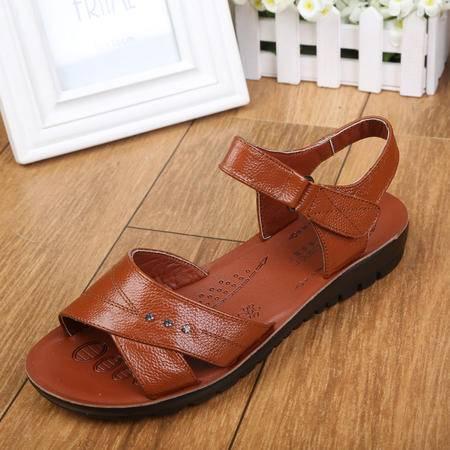 上海花牌女鞋正品 中老年妈妈凉鞋柔软牛皮低跟夏季女凉鞋5A2022-11