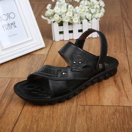 正品牛头牌男鞋 夏季真皮男凉鞋透气防滑金属装饰沙滩鞋两用S57001