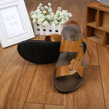 上海牛头牌正品 夏季新款男凉拖鞋两用 超纤环保皮沙滩鞋男鞋S58002
