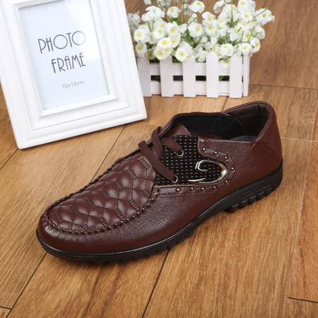 正品上海牛头牌 男鞋休闲透气皮鞋软牛皮系带真皮单鞋低帮鞋男BD61001