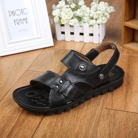 上海牛头牌正品 新款男拖鞋凉鞋两用 夏季真皮头层皮沙滩鞋男PBS60001