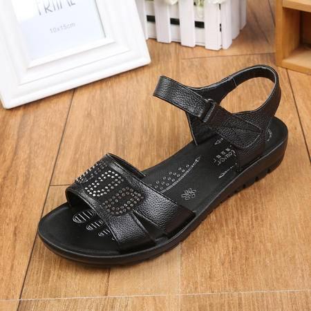 上海花牌女鞋正品 中老年妈妈凉鞋柔软牛皮低跟夏季女凉鞋5A2021-11