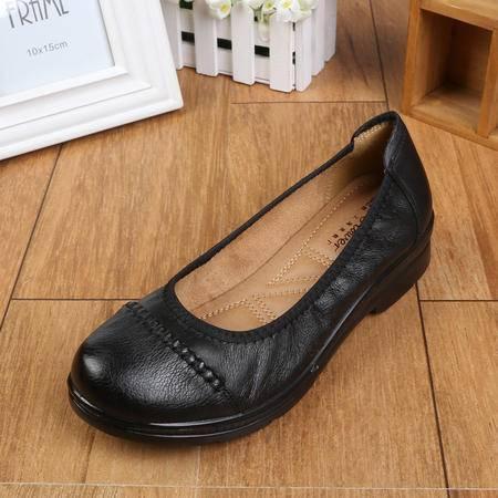 上海花牌女鞋单鞋 妈妈鞋 夏季新款休闲圆头真皮浅口平跟鞋女25101