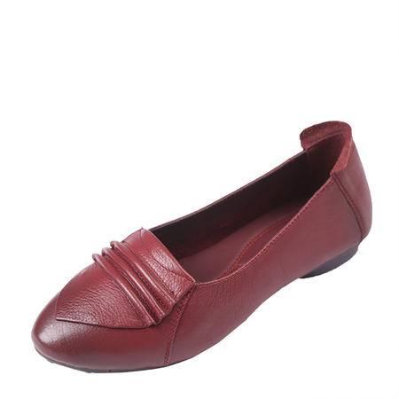 上海花牌女鞋正品单鞋 时尚优雅简约大方新款圆头真皮浅口鞋女5D13001-37