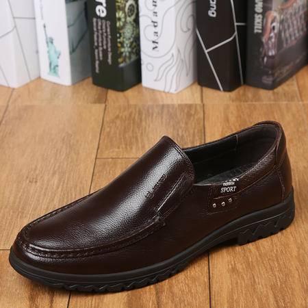 上海牛头牌正品男鞋 真皮 休闲皮鞋 透气低帮单鞋工作鞋239057-02