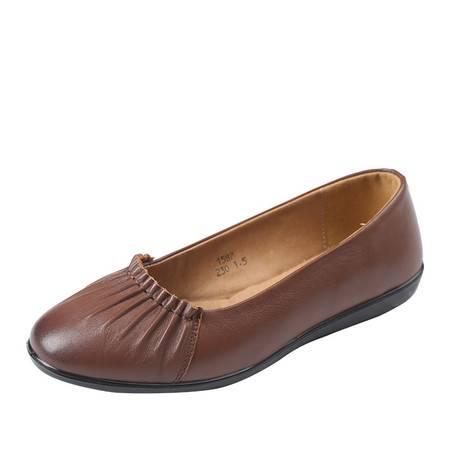 上海花牌女鞋正品 新款平跟浅口单鞋 平底女圆头休闲女士真皮1587