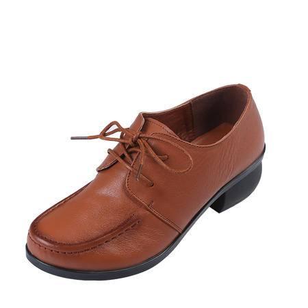上海花牌女鞋正品鞋 头层牛皮深口女系带单鞋 优雅休闲鞋女真皮5C53002-37