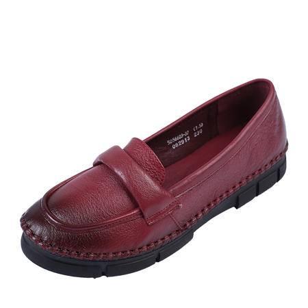 上海花牌正品女鞋 头层牛皮 简单时尚优雅单鞋女 圆头单鞋妈妈鞋5D56603-37