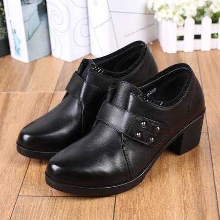 正品上海花牌女鞋 秋冬季头层牛皮粗跟妈妈鞋低帮鞋中跟橡胶
