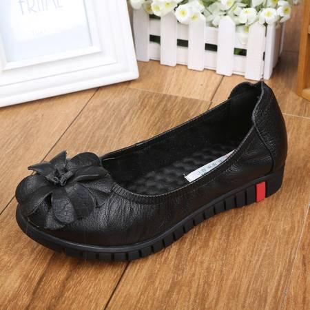 上海花牌女鞋 秋季潮女士优雅真皮牛皮单鞋女低帮鞋圆头套脚花朵