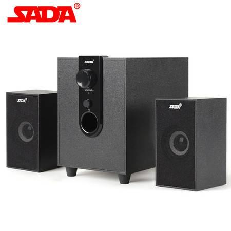 SADA D-210赛达USB2.1低音炮多媒体音箱 木质台式笔记本电脑音响 3个装