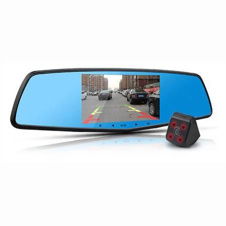 第1现场D-6000 后视镜行车记录仪 双镜头高清1080P  预警记录仪 一体机 送16G卡读卡器