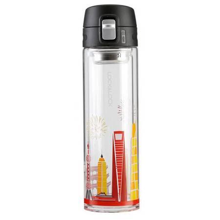 乐扣乐扣 茶杯 玻璃水杯 双层玻璃杯350ml LLG663
