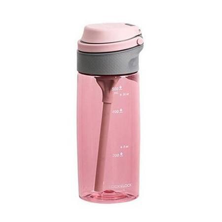 乐扣乐扣 一键式吸管水杯 便携运动水壶 带刻度学生塑料水杯子 550ml ABF764