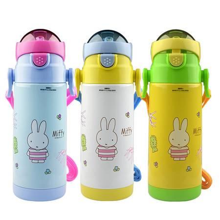 米菲MIFFY新品儿童软吸管保温杯 不锈钢真空婴幼儿防漏保温水壶 MF-S252颜色随机