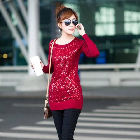 瑅艾小亮片女式圆领针织衫衫(红)DK04963