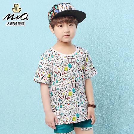 M&Q大眼蛙童装 男童新韩版夏装圆领针织衫中大童儿童时尚短袖T恤