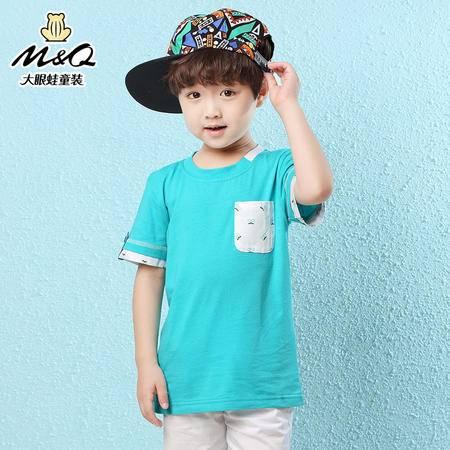 M&Q大眼蛙童装 男童夏季时尚新品短袖衫T恤衫中大童针织圆领上衣