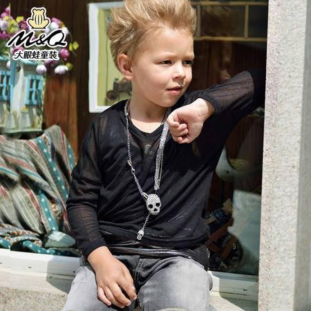M&Q大眼蛙童装 男童夏季圆领长袖针织衫中大童儿童薄款防晒T恤衫