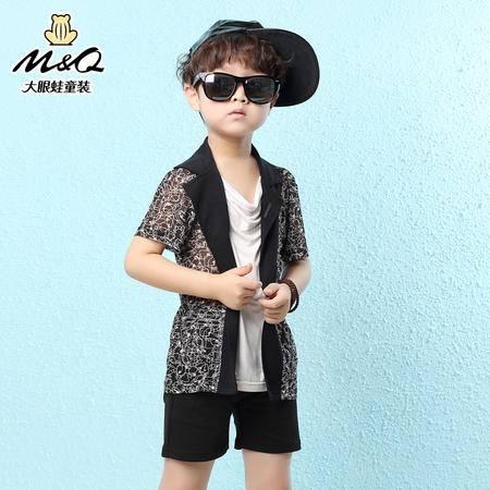 M&Q大眼蛙童装 男童新韩版反领短袖针织衫中大童时尚假两件T恤衫