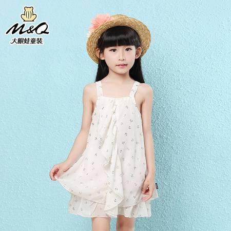 M&Q大眼蛙童装 女童夏装新款吊带连衣裙中大童儿童韩版公主吊带裙