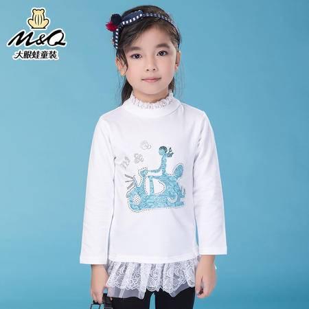 M&Q大眼蛙童装 女童韩版秋装学院风高领针织衫中大童儿童打底T恤