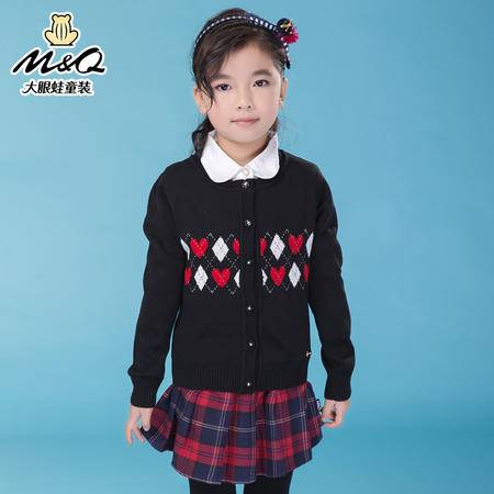 M&Q大眼蛙童装 女童时尚秋装开胸长袖毛衣外套中大童儿童休闲毛衫