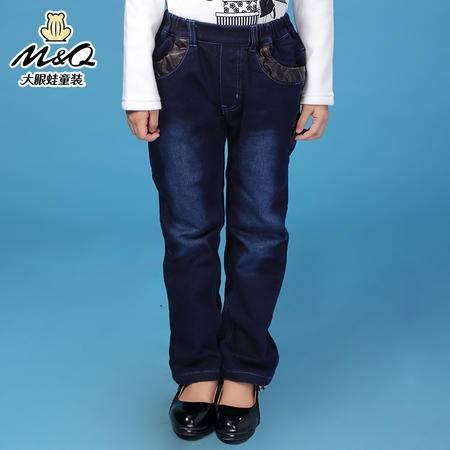 M&Q大眼蛙童装 女童韩版冬装紧松腰牛仔夹棉裤中大童儿童保暖长裤