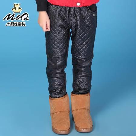 M&Q大眼蛙童装 女童冬装新品韩版加绒棉裤中大童儿童时尚保暖棉裤
