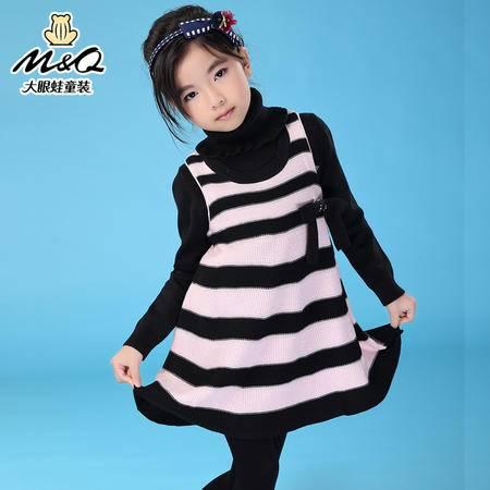 M&Q大眼蛙童装 女童秋装新款潮流背心毛织裙中大童儿童时尚毛织裙