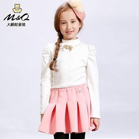 M&Q大眼蛙童装 女童时尚秋装高领针织衫中大童儿童休闲长袖T恤衫