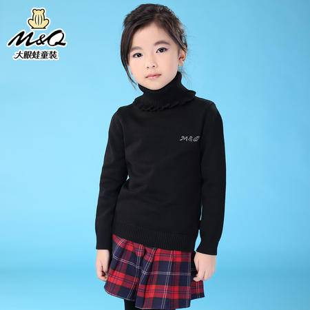 M&Q大眼蛙童装 女童时尚秋冬高领毛衣中大童儿童保暖针织打底毛衫