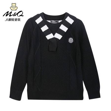 M&Q大眼蛙童装 男童秋装新款毛衣厚套头圆领中大童儿童时尚针织衫