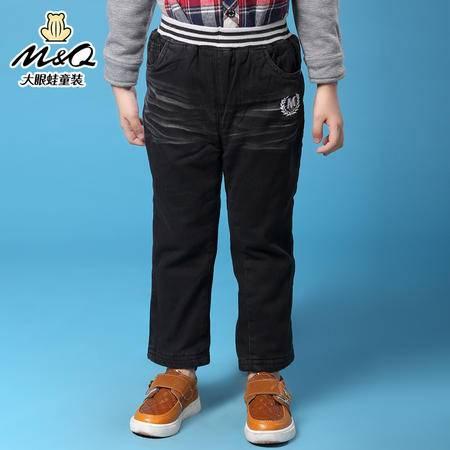 M&Q大眼蛙童装 男童时尚冬装紧松腰保暖夹棉裤中大童儿童加绒长裤