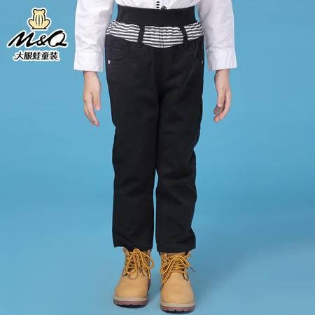 M&Q大眼蛙童装 男童韩版秋装紧松腰单长裤中大童儿童休闲长裤布裤