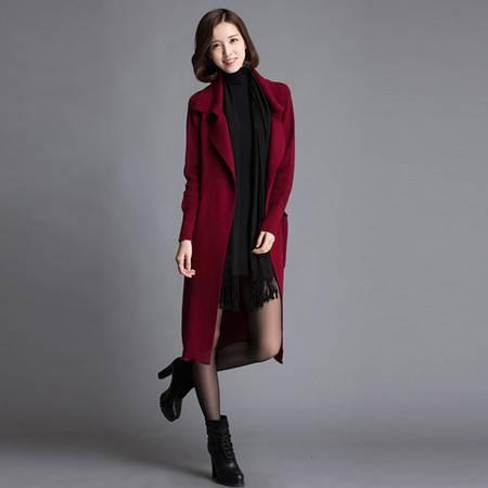 伊贝心语 大码长款西装领羊毛针织大衣