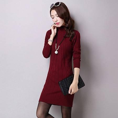 伊贝心语 写意暗纹优雅半高领羊毛裙