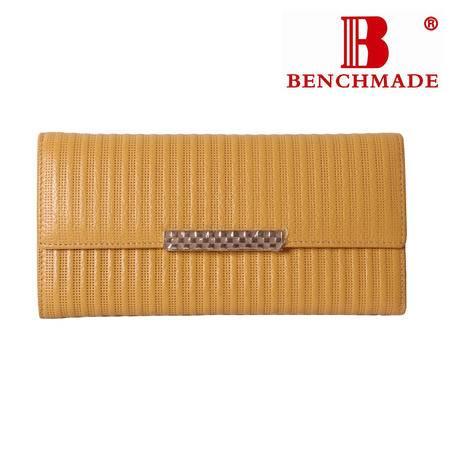 英国百利BENCHMADE 专柜正品 A级牛皮 长款二折 女士钱夹 B-61030-768 黄