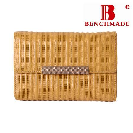 英国百利BENCHMADE 专柜正品 A级牛皮 短款三折 女士钱夹 B-61030-767 黄