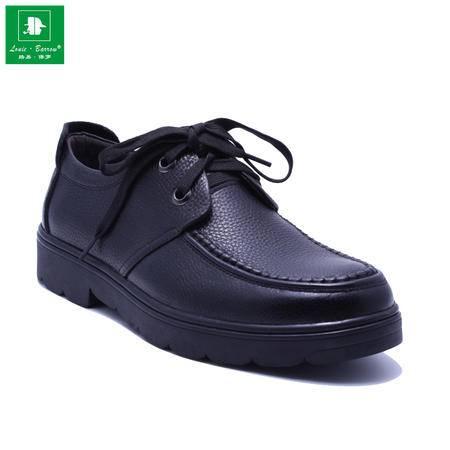 法国路易保罗专柜新品头层牛皮商务休闲皮鞋男鞋系带单鞋 1566 黑