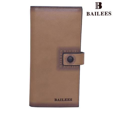英国百利BAILEES 专柜新品 头层牛皮 搭扣长款 男钱包 BQ11-902018 卡其
