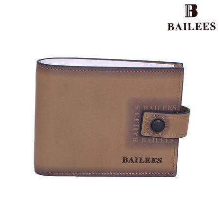 英国百利BAILEES 专柜新品 头层牛皮 搭扣横款 男钱包 BQ11-902016 卡其