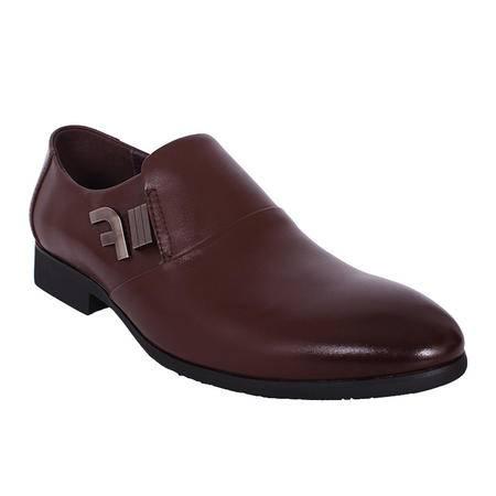 法国路易保罗新款正品头层牛皮正装男鞋套脚单鞋 1323-3 棕