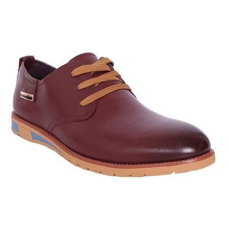 法国路易保罗新款正品头层牛皮商务休闲男鞋系带软皮软底单鞋 11522-D 酒红