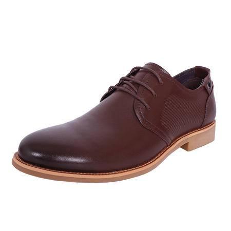 法国路易保罗新款正品头层牛皮商务休闲男鞋系带软皮软底单鞋 88077-3 棕