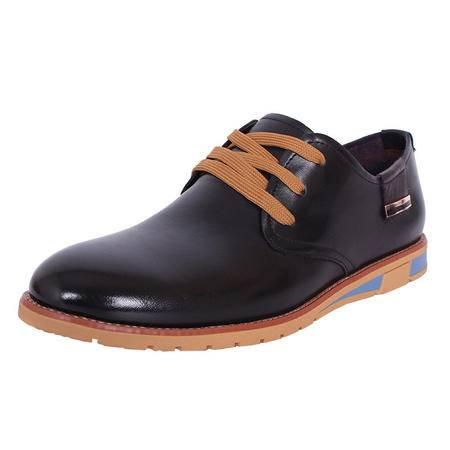 法国路易保罗新款正品头层牛皮商务休闲男鞋系带软皮软底单鞋 11522 黑